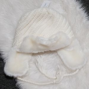 New! CK Cable Knit Fur Ear Flap Beanie